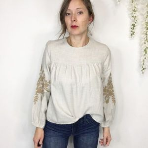 ZARA embroidered long sleeve top 100% cotton